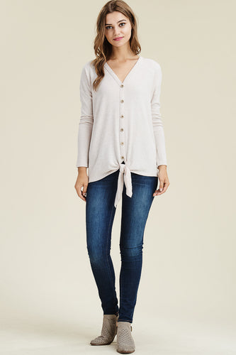 Oatmeal V-Neck with Tie Hem