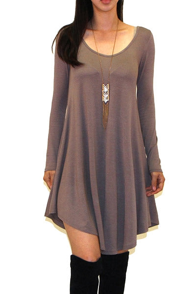 Long Sleeve Shirt Dress - Mocha