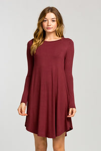 Long Sleeve Shirt Dress - Red Brown