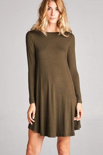 Long Sleeve Shirt Dress - Olive