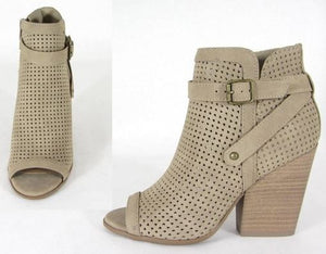 Open Toe Taupe Bootie