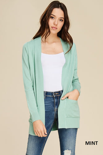 Open Front Cardigan - Mint