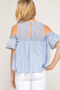 Cold Shoulder Eyelet Lace Top