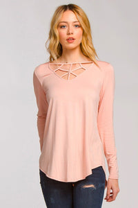 Long Sleeve with Detailed Neckline - Peach