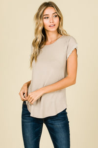 Beige Tulip Sleeve Top