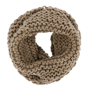 Knit Infinity Scarf - Taupe