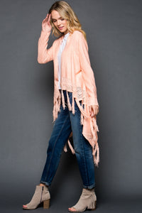 Knit Fringe Long Cardigan