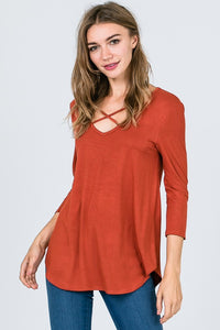 Criss-Cross 3/4 Length Sleeve - Dark Rust