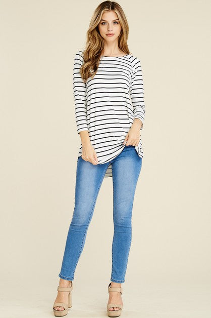 Striped Tunic -Ivory/Black