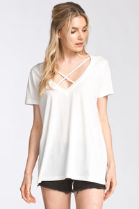 Criss-Cross Ivory Short Sleeve Top