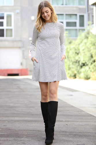 Long Sleeve Dress - Striped