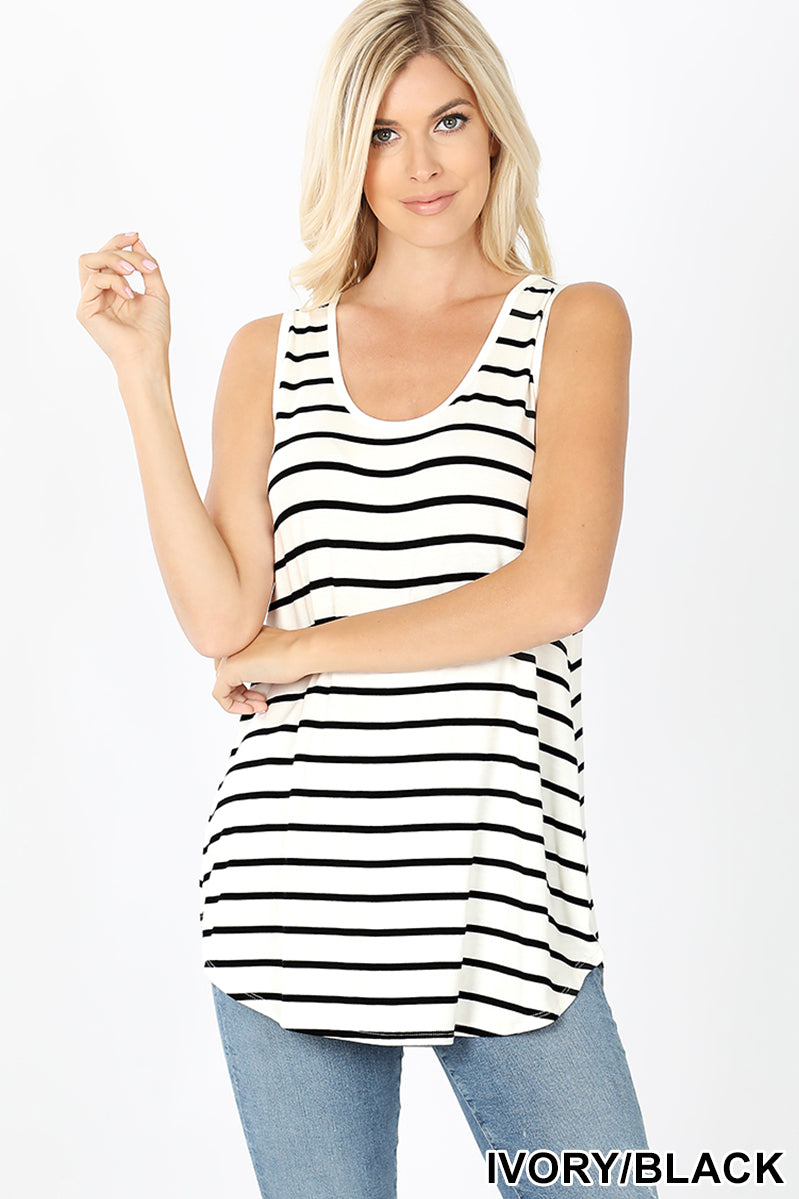 Striped Tank - Ivory/Black