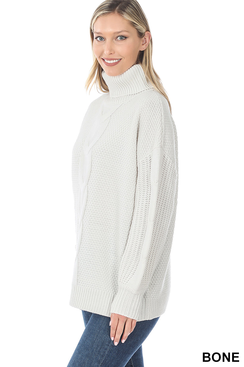 Turtleneck Cable Knit Sweater - Bone