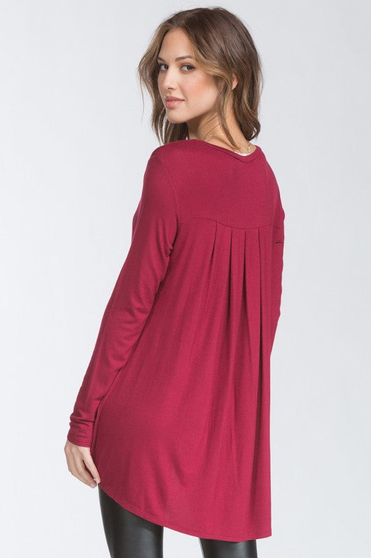Pleated Back Top - Burgundy