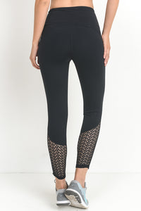High Waisted Lace Detail Leggings
