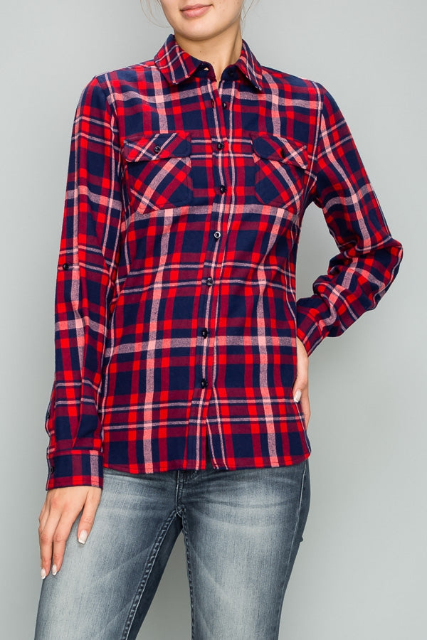 Plaid Button-up - Red/Navy