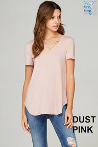 Criss-Cross Dust Pink Short Sleeve
