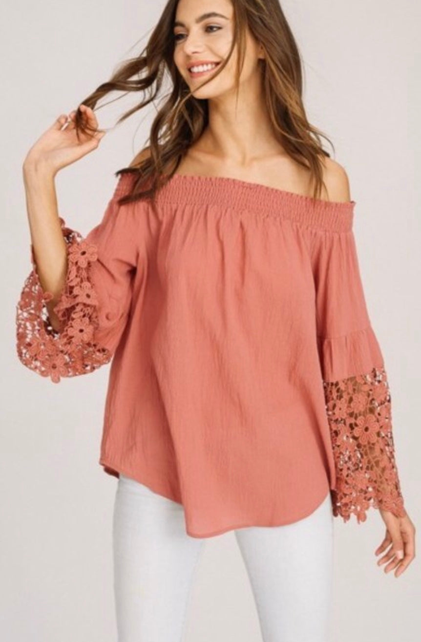 Off the Shoulder with Lace Sleeves