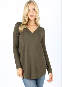 Long Sleeve V-Neck - Olive