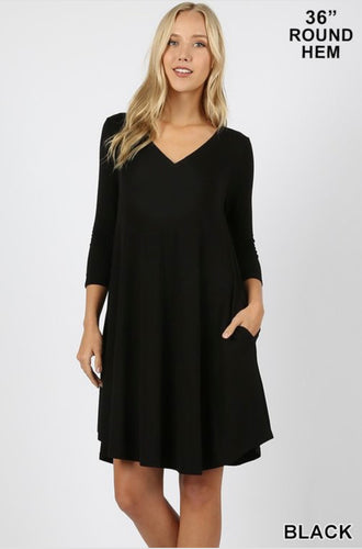 3/4 Length Sleeve Black Dress