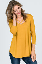 Criss-Cross Mustard 3/4 Length Top