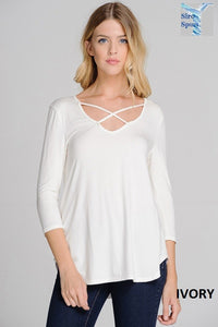 Criss-Cross Ivory 3/4 Length Top