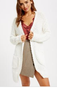 Popcorn Open Cardigan - Sweet Cream