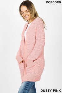 Popcorn Cardigan - Dusty Pink