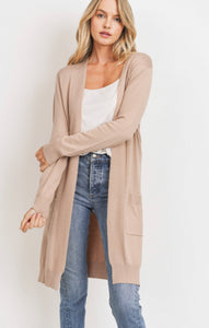 Knit Pocket Cardigan - Taupe