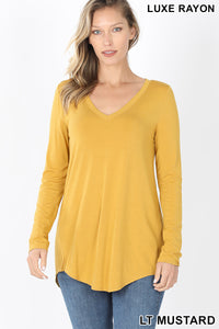 Long Sleeve V-Neck - Mustard