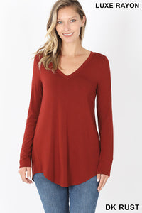 Long Sleeve V-Neck - Rust
