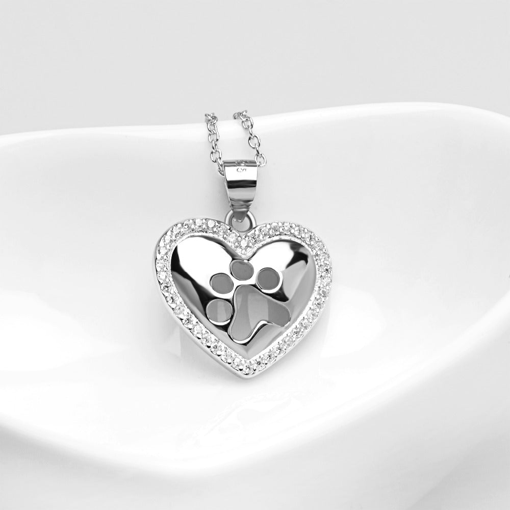 Sterling Silver Heart Dog Paw Print Pendant Necklace