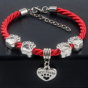 Hand-Woven Paw Print Rope Bracelet