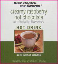 Creamy RASPBERRY Hot Chocolate Drink Mix 703 WHOLESALE CASE 50% off (40 boxes/case 7 pkts/box) (DHS) Diet Health and Sports Brand (DHS)