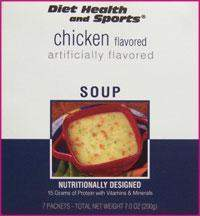 Chicken High Protein Hot Soup Mix WHOLESALE CASE (40 boxes/case 7 pkts/box 280 svg/case)  (DHS) Diet Health and Sports Brand - 855c