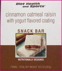 Cinnamon Oatmeal Raisin BAR with Yogurt Flavored Coating 770 WHOLESALE CASE 35% Off (24 boxes/case 7 servings/box normally $13.25/box) (DHS)