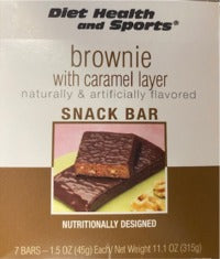 Brownie Caramel Bar with Nuts 801 Robard Formerly Caramel Brownie NUT Bar 801 WHOLESALE CASE 35% Off (24 boxes/case 7 servings/box normally $13.25/box) (DHS)