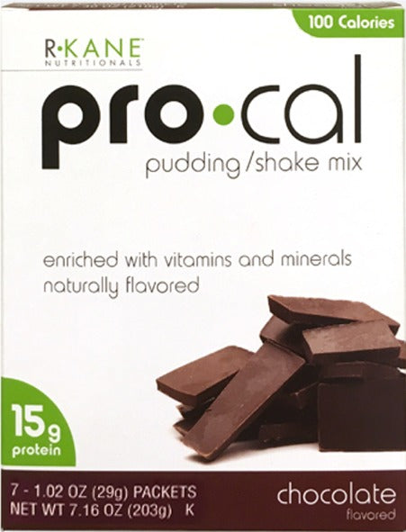 Chocolate Pudding and Shake Mix - $9.11/box Pro-Cal 100 - Save 35% R-Kane Brand (Price per Case/36 boxes of 7 packets/box - 252 servings/case -DietFoodsWholesale.com )