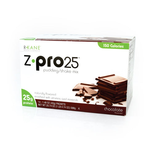 Chocolate Z PRO 25  Pudding/Shake R-Kane Brand $25.71/box $1.84/packet Save 36% (Price for Case 18 boxes of 14 packets/box) Low Cost Discount