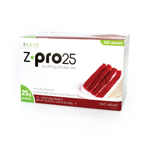 Red Velvet Z PRO 25  Pudding/Shake R-Kane Brand $25.71/box $1.84/packet Save 36% (Price for Case 18 boxes of 14 packets/box) Low Cost Discount