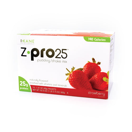 Strawberry Z PRO 25  Pudding/Shake R-Kane Brand $25.71/box $1.84/packet Save 36% (Price for Case 18 boxes of 14 packets/box) Low Cost Discount