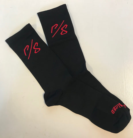Soft Air Tall Sock Sagan Decon Red Blk - Mackay Cycles - [product_SKU] - Specialized