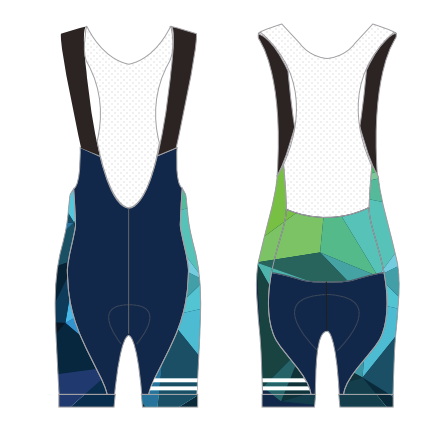 MACKAY CYCLES WMN GEO TEAL BIBS