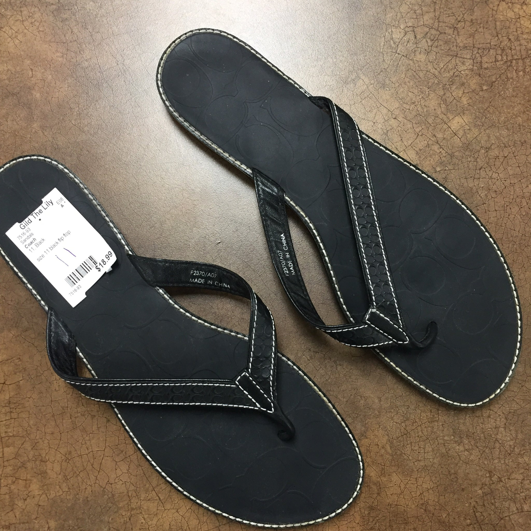 Coach Black Sandals, Size 11