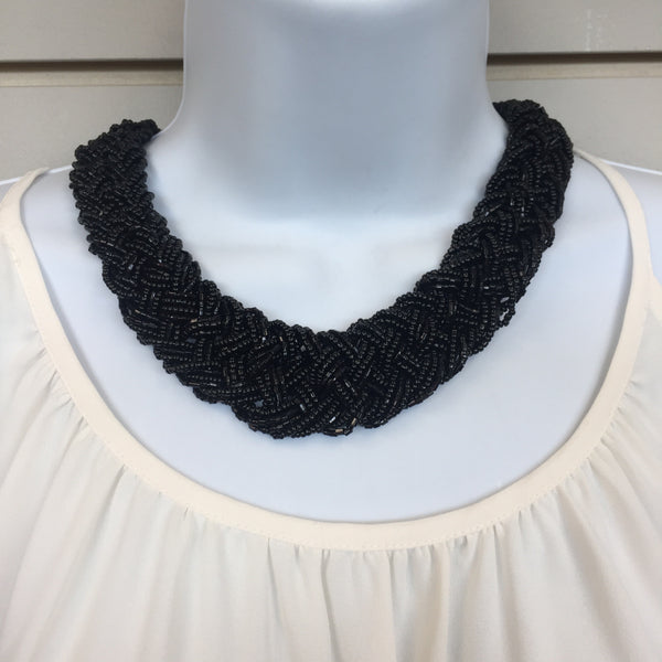 Black Braided Necklace