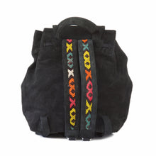 "Black Suede Leather ""Lunja"" Backpack & Kilim Detail"