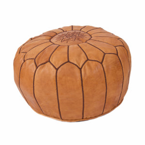 Moroccan Medium Leather Pouf & Dark Stitch
