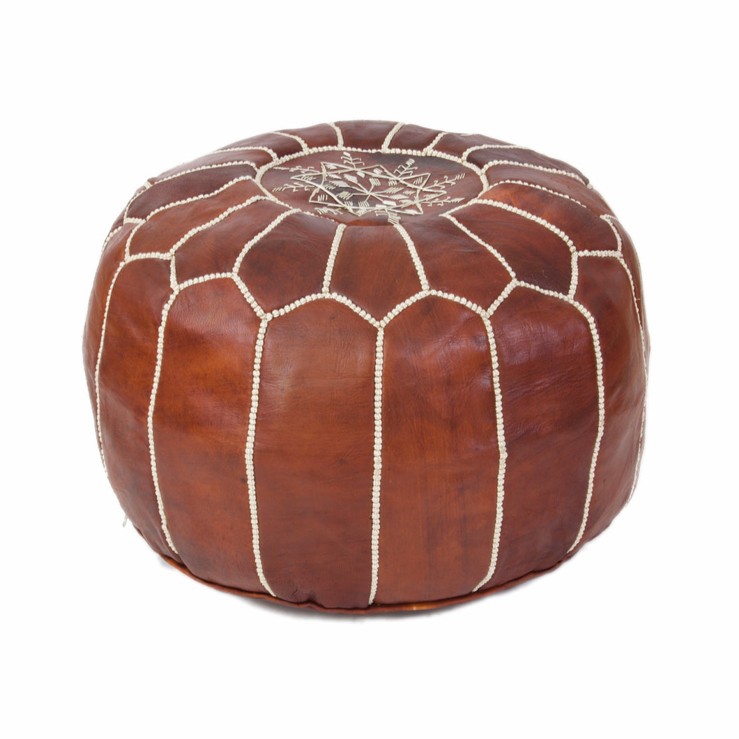 Moroccan Coffe Leather Pouf & Light Stitch