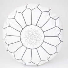 Moroccan White Leather Pouf & Dark Stitch