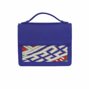 "Moroccan Blue Leather ""Mina"" Handbag & Kilim Detail"